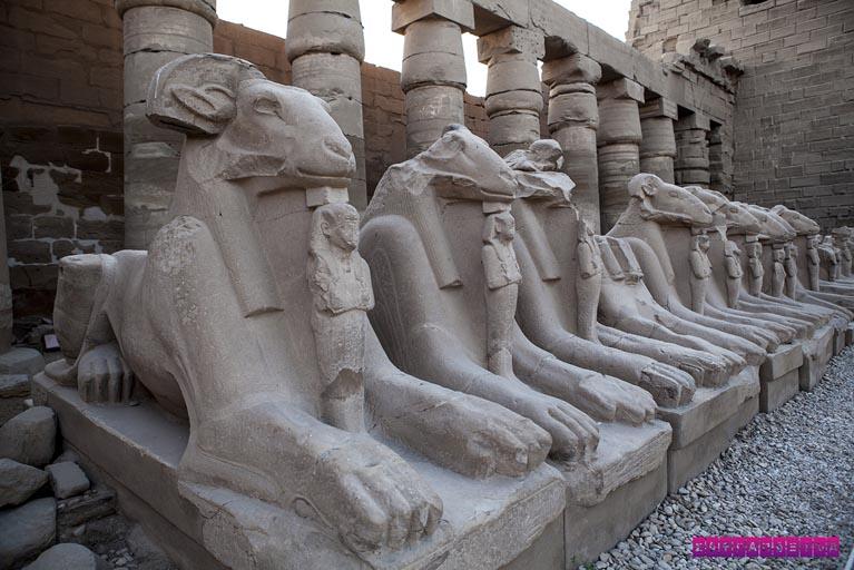 Esfinges no Templo de Karnak