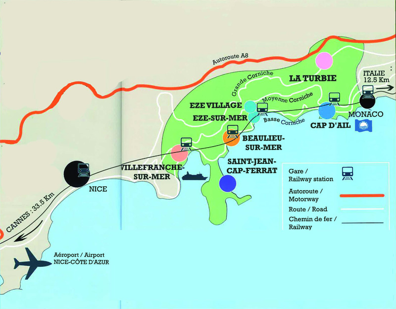 Mapa da Costa Azul ou Riviera Francesa credito: site turismo Saint-Jean-Cap-Ferrat