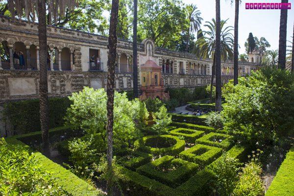 Os jardins do Real Alcázar são extensos. Esse corredor proporciona uma vista panorâmica.