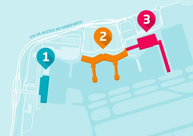 A nova numeração dos terminais do aeroporto de Guarulhos.