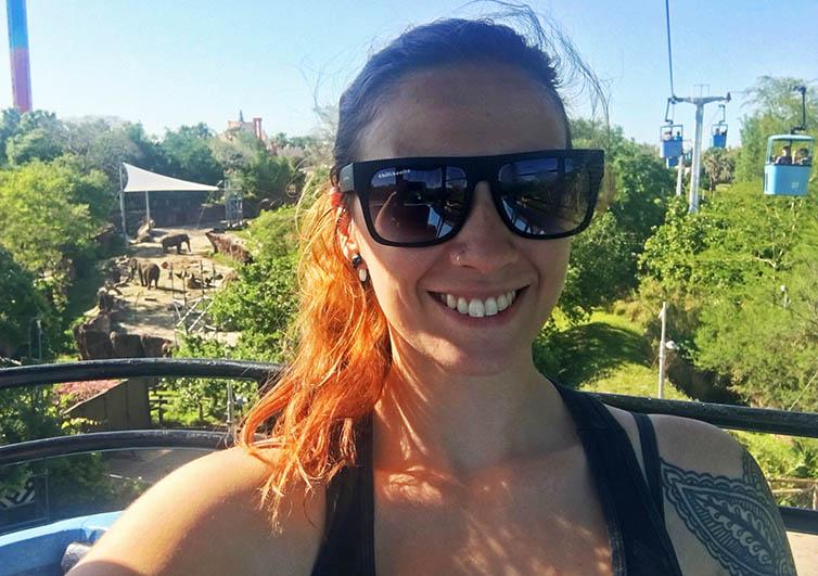 Selfie divíssima no SkyRide, o teleférico do Busch Gardens!