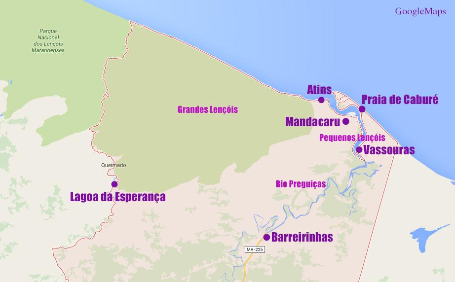 No mapa as maravilhas que visitamos nos Lençóis Maranhenses