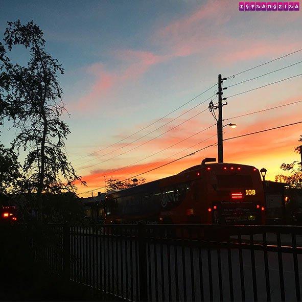 Por-do-sol na estação de ônibus - até que ficou bonito, vai!