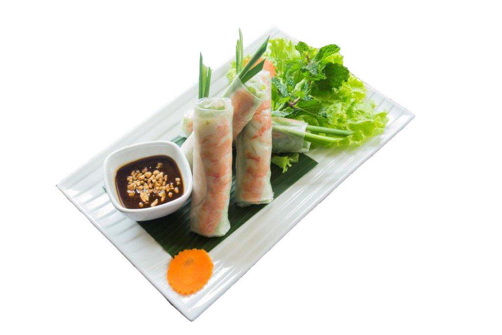Gỏi cuốn - Espaguete de arroz, camarão, carne suína e mix de salada enrolada em massa de arroz acompanhada com molho de amendoim -foto oficial Site Miss Saigon