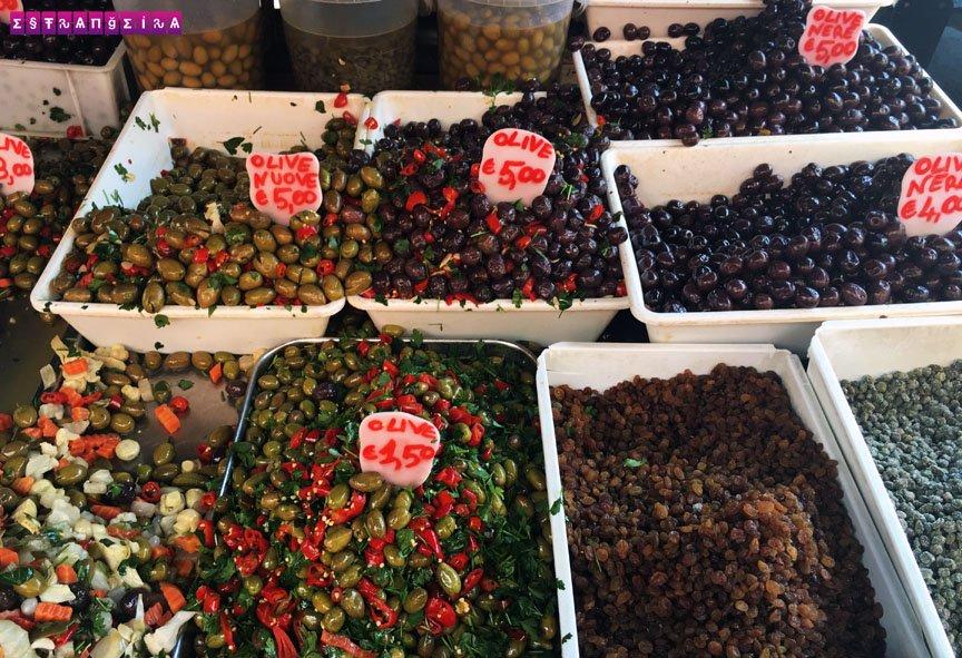 Preços da azeitonas da feira da Catânia.