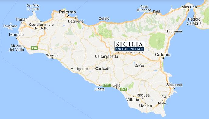 Localização do Sicilia Outlet Village