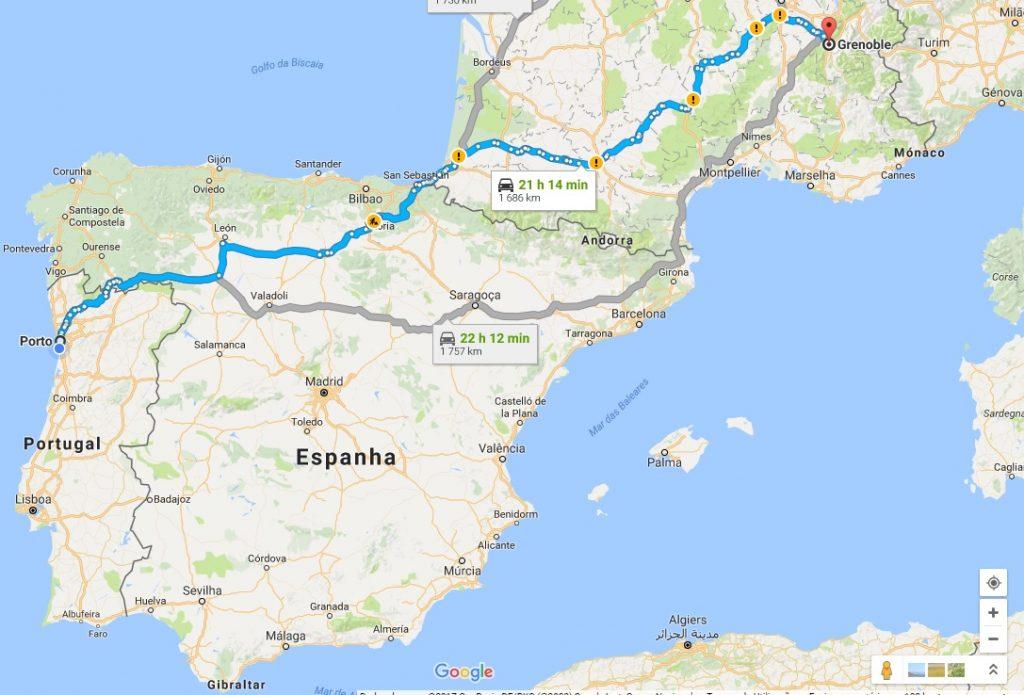 Porto-Grenoble-mapa