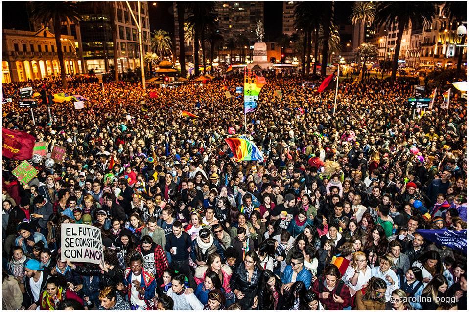 Concentração para a saída da Marcha por la Diversidad - Crédito foto: Carolina Poggi