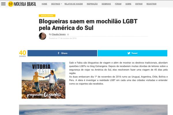 Estrangeiras no Mochila Brasil