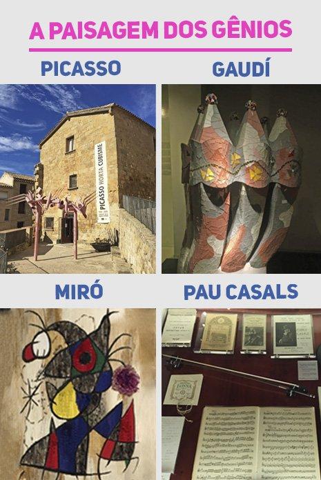 Obras de arte de Gaudi, Picasso e Miró